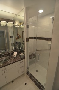 Remodeling and tile work in this bathroom remodel